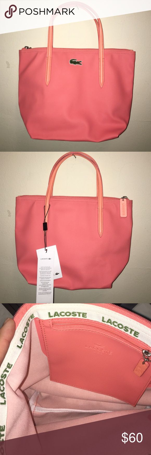 ✨ NEW ✨ Lacoste Tote Bag Concept zip tote bag in fusion coral. The classic L.12.12 small tote features a minimalist style that looks chic no matter where you go. Inspired by our iconic polo shirts, this bag features a petit piqué type texture.  Bright colors Top zip closure 1 interior zip pocket Dimensions: 24.5 x 25 x 14 cm Lacoste Bags Totes