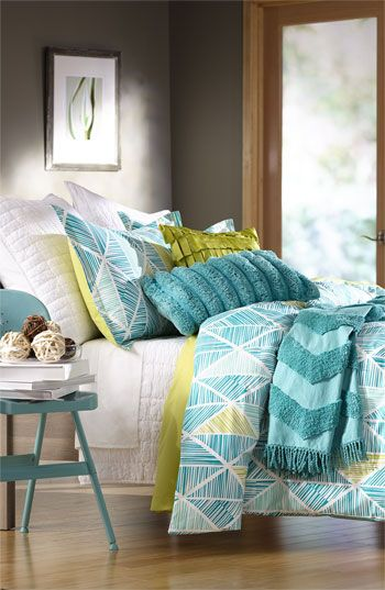 Nordstrom at Home: 'Matchstick Diamond' Duvet Cover and Shams, 'Alice' Coverlet and Euro Shams, Brentwood Originals Super Wide Rib Pillow, 'Pinata Fringe' Pillow Cover, Zigzag Tufted Throw