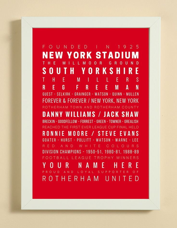 Rotherham United Football Club Word Art Design Print - Words, Names And Facts Associated With Rotherham United FC - In White Or Black A4 Box Frame