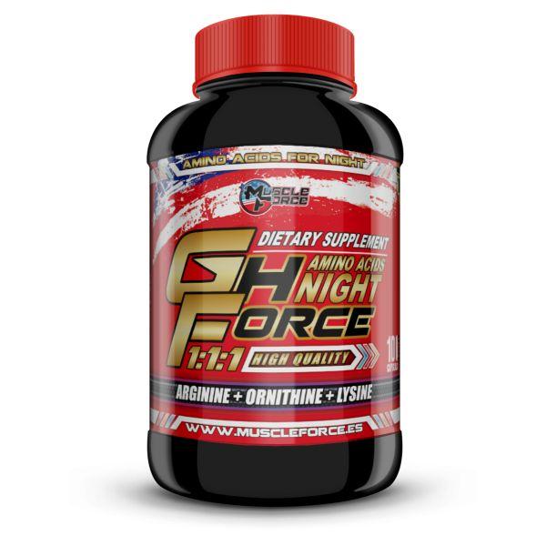 GH FORCE NIGHT 100CAP  Gh Force Night Es una fórmula exclusiva de aminoácidos compuesta de Arginina, Ornitina y Lisina la combinación de estos aminoácidos se transforman en un potente precursor de la Hormona del Crecimiento (GH), que nos proporciona mayor aprovechamiento de las proteínas consumidas,