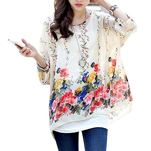 DJT Floral Batwing Sleeve Plus Chiffon Blouse Womens Loose Off Shoulder T-Shirt Tops White Red Brown DJT http://www.amazon.co.uk/dp/B00L379EBA/ref=cm_sw_r_pi_dp_MJHevb16V7FJV