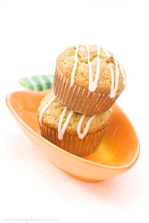 "Oat and Carrot ""Marmalade"" Muffins with Orange Glaze"