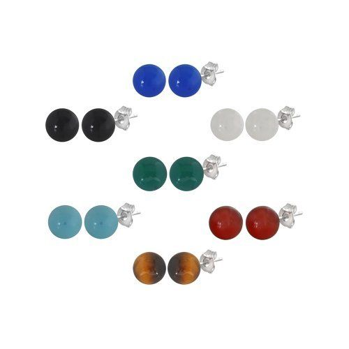 Set of 7 Sterling Silver Gemstone Stud Earrings (Blue Agate, Black Agate, Green Agate, Rose Quartz, Amazonite, Carnelian, Tiger Eye), 8-8.5mm Amazon Curated Collection. $39.00. Made in China. The natural properties and composition of mined gemstones define the unique beauty of each piece. The image may show slight differences to the actual stone in color and texture. Save 61% Off!