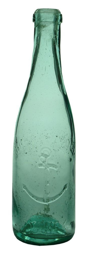 "Embossing: Chester Lodge / (Anchor) / Cordial Works / Sydney. Small indent to base. (New South Wales) (Bottle 8, Page 147, ""Thirsty Work"", Jones). Type: Aerated Water Cork Stoppered /  Era: 1900s /  Variety: Champagne. Spun finished ring seal. Aqua. 13 oz. /  Height: 244 mm /  Condition: Good. Polished. Has had to have a very heavy polish to remove pitting which has left very smooth surfaces. Pitting remains around the embossing. The writing is a bit weak but the trade mark stands out well…"