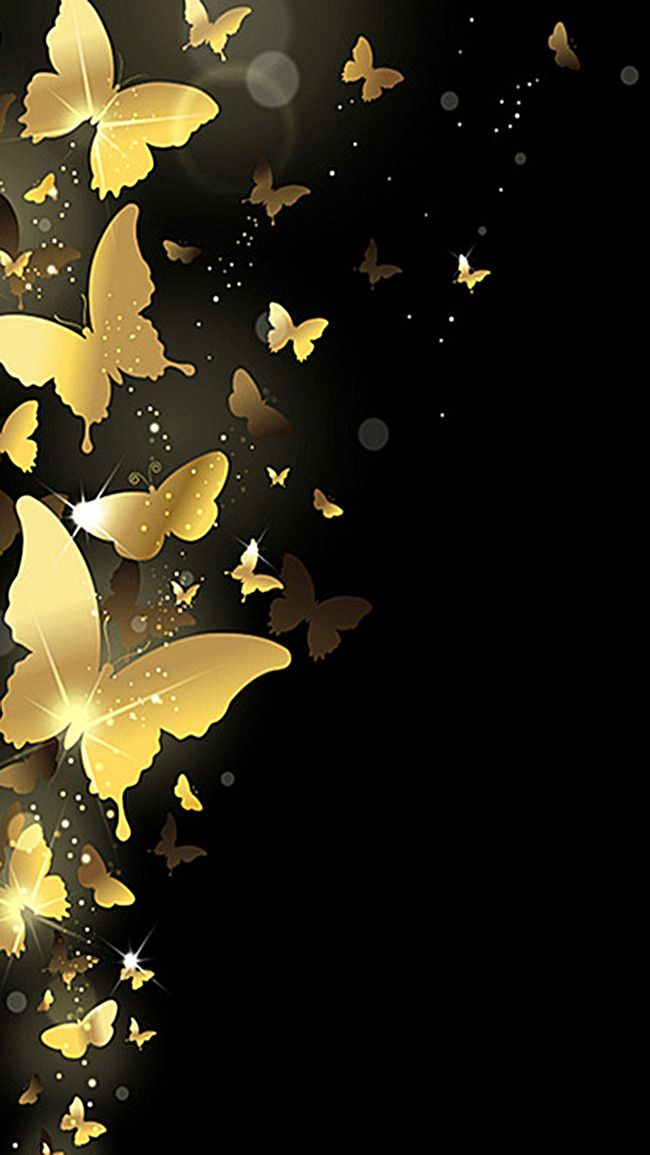Golden Shine Butterfly H5 Background Material Gold Wallpaper Background Beautiful Wallpapers Black Background Wallpaper