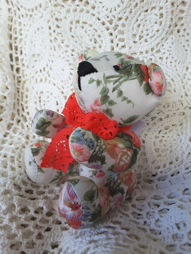 Handmade Teddy bear ,fabric teddy bear,  textile doll home decor made in Ukraine ready to ship by royalknitting on Etsy