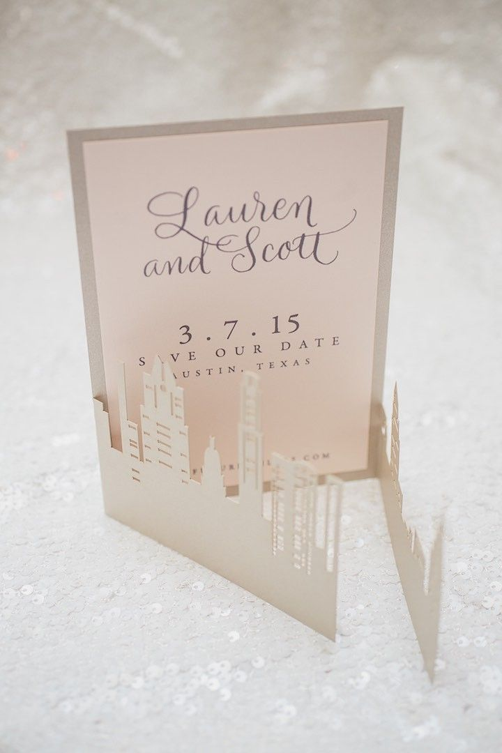 laser cut save the date card; photo: SMS Photography
