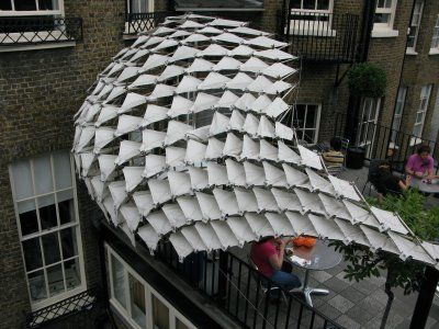 A parametric tensile membrane canopy built by EmergentTechnologies  (an academic program at the AA)