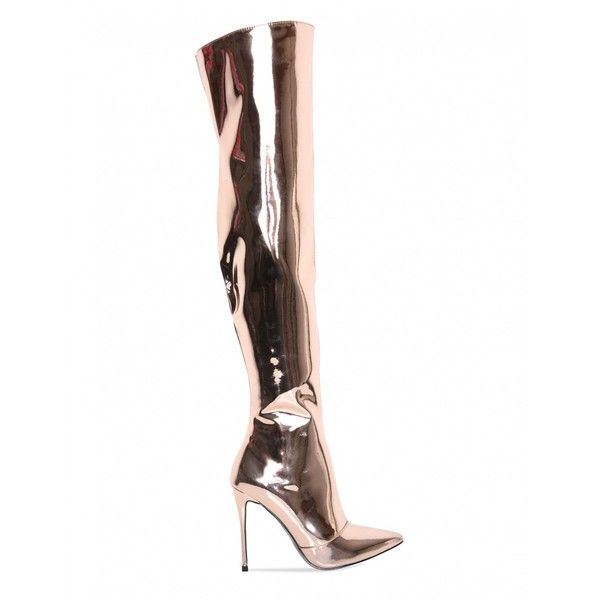 Solar Eclipse Metallic Over The Knee Heeled Boots In Gold PU ($81) ❤ liked on Polyvore featuring shoes, boots, thigh high stiletto heel boots, faux-fur boots, metallic heel boots, gold stilettos and over the knee heel boots