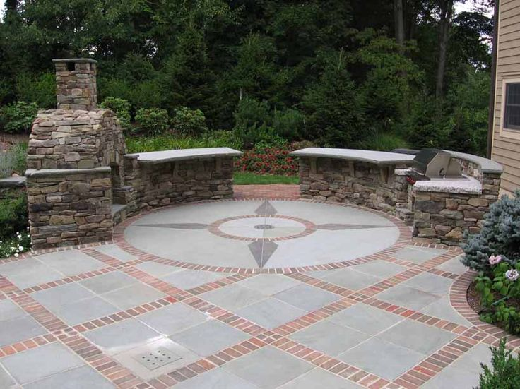 Expert Bluestone Dining Patio With Brick Borders And Granite Inlay Mahwah NJ