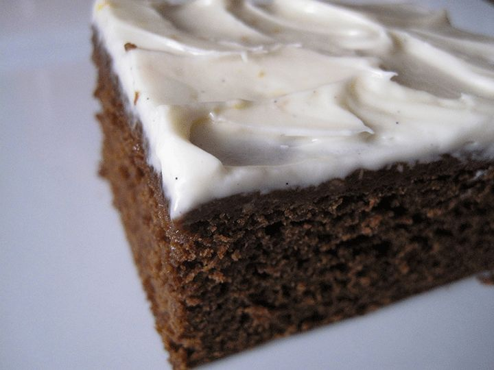 Gingerbread cake with orange cream cheese frosting