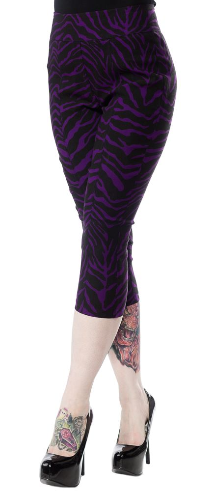 SOURPUSS ZEBRA SUGAR PIE CAPRIS PURPLE - Our Zebra Sugar Pie Capris are perfect for the gal who's a little bit pinup and a little bit rock 'n' roll! They are incredibly stretchy and fitted, and hug every curve while holding everything perfectly in place! (They make your tooshy look great too!) They're made from a vibrant purple, stretchy bengaline and are just to die for!