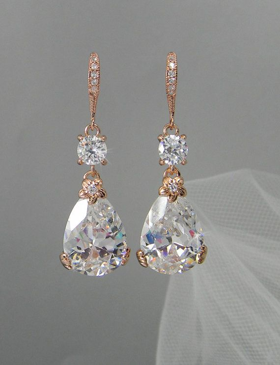 Rose Gold Bridal Earrings Drop Wedding Earrings