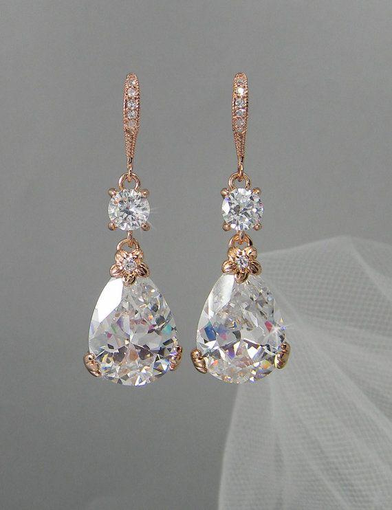 Rose Gold Bridal Earrings Drop Wedding Earrings