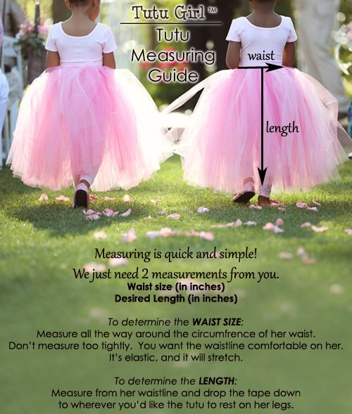 tutu measuring guide with size chart