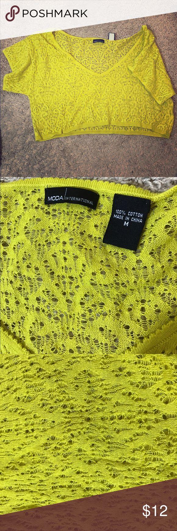 Greenish yellow crop top NWT. Really cute crop top, all you need is a cami or a bikini top underneath! Moda International Tops Crop Tops