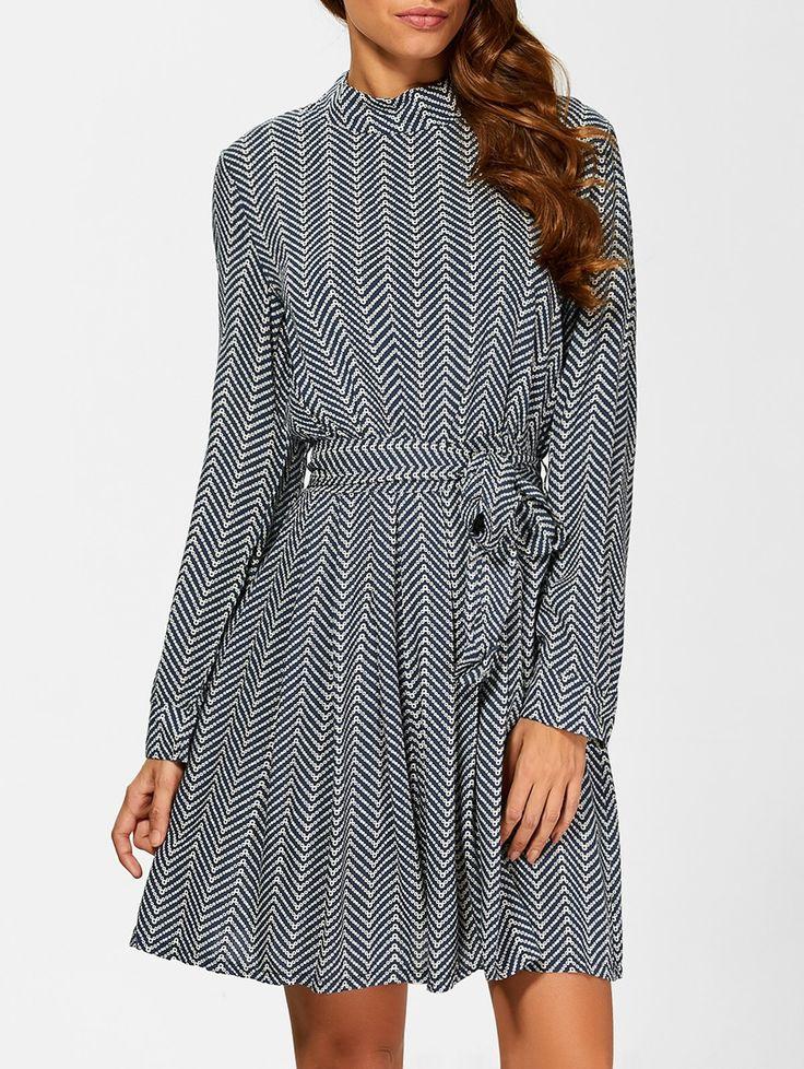 Belted Chevron Pattern Vintage Dress in Deep Blue | Sammydress.com