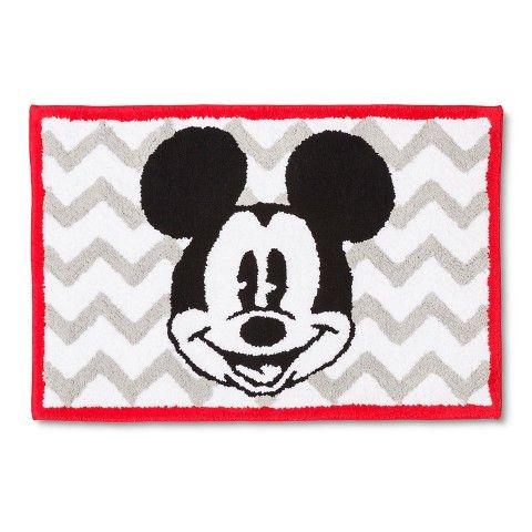 Disney 174 Mickey Mouse Chevron Bath Rug Gray White 21x30