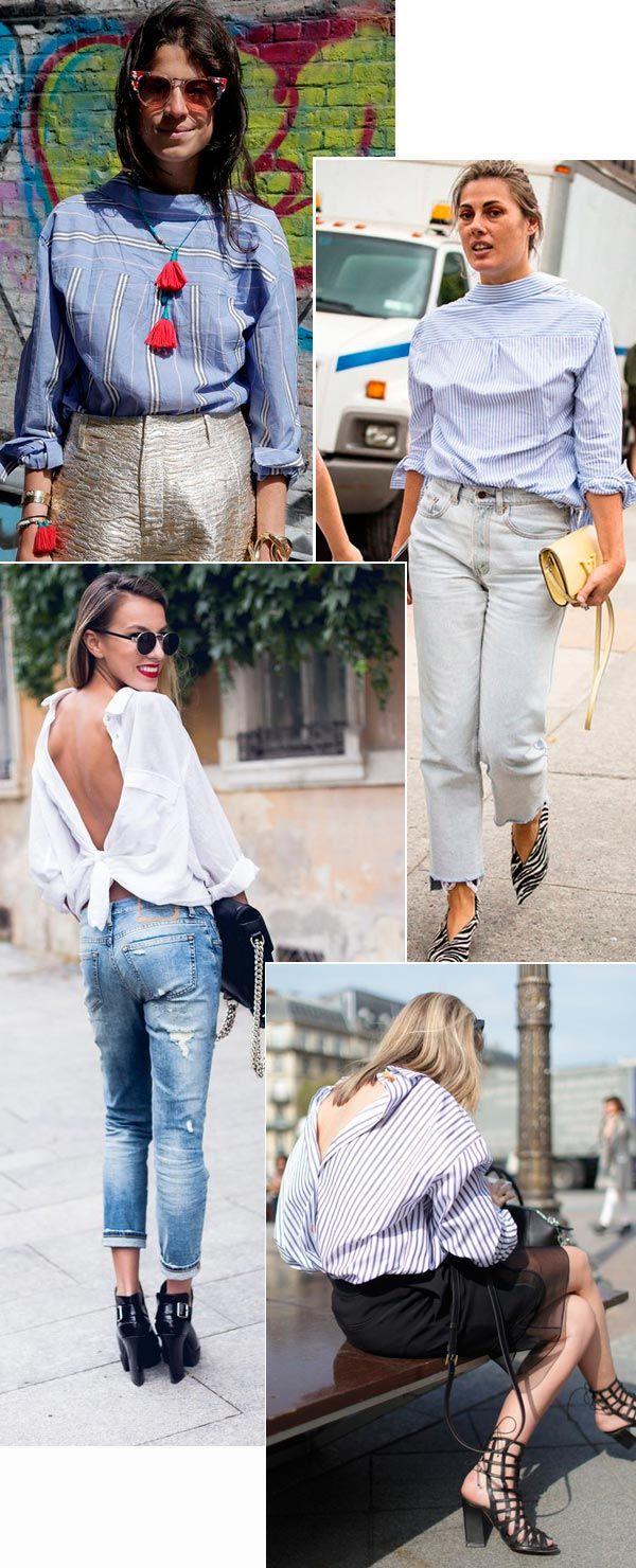 Street style look com camisa social ao contrário.