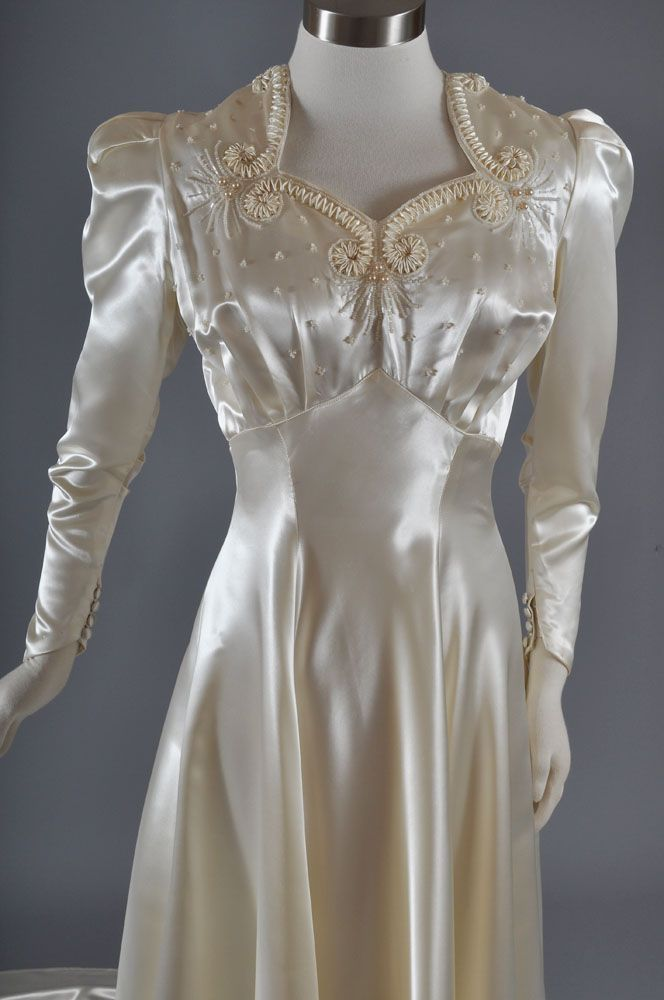 1940's Candlelight Satin Trained Wedding Gown *Beaded *S from mairemcleod on Ruby Lane