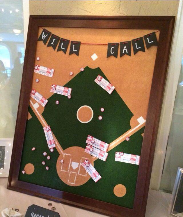 Baseball theme wedding DIY bulletin board guest seating chart