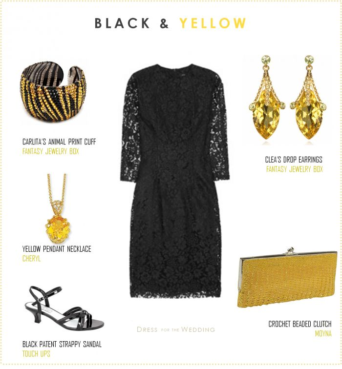 Accessories ith yellow dress in a edding