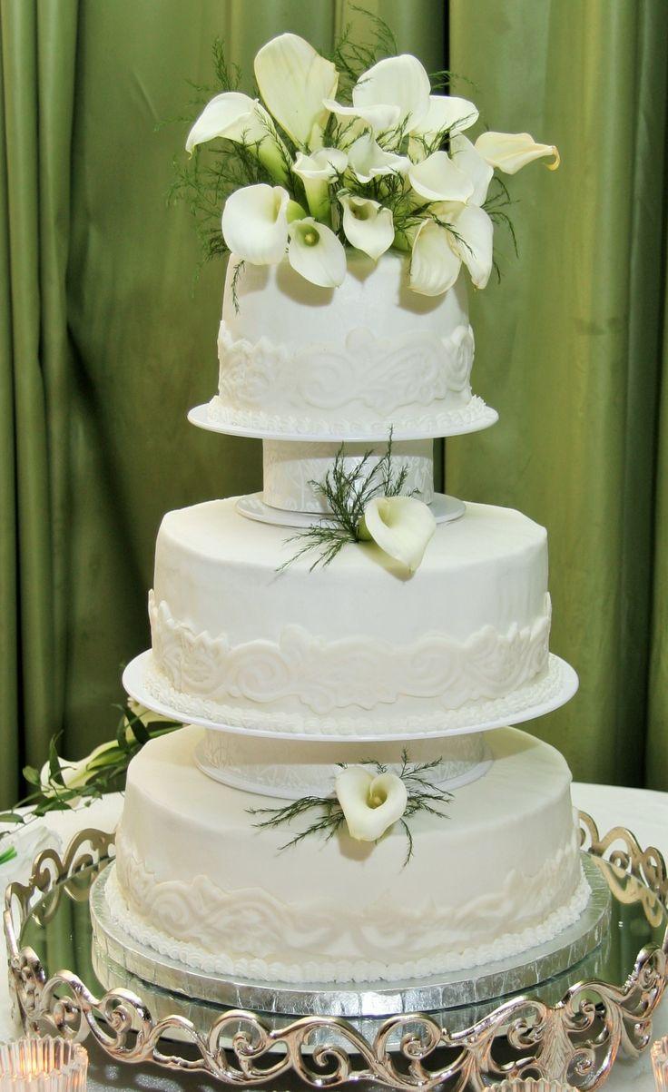 3 Tier Round Wedding Cake with Columns, Swirl Design and