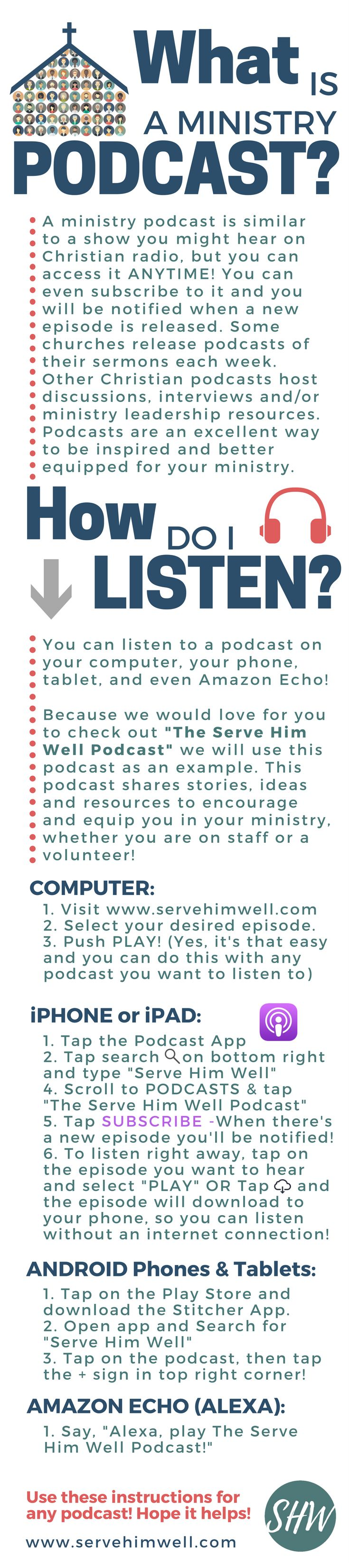Ever wondered what a podcast is and how to listen use our handy guide and check out the serve him well podcast we share stories ideas and resources to