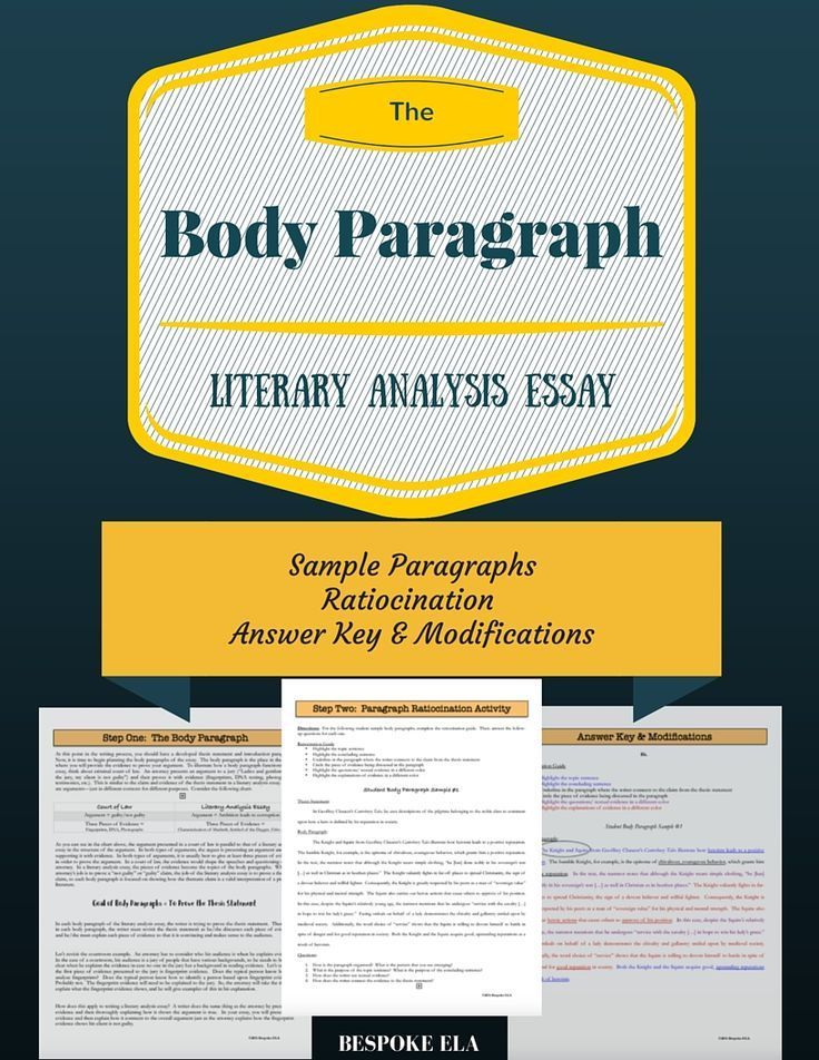 In this mini-lesson, students learn about the parts of the body paragraph for writing an essay. Students read about the purpose of the body paragraph and then ratiocinate three student sample paragraphs. This is an excellent mini-lesson to introduce students to the structure of the paragraph.  Excellent tool for writing workshop in middle school and high school.  Find this mini-lesson as part of the best-selling bundle by Bespoke ELA for Literary Analysis writing, sold separately. by Bespoke…