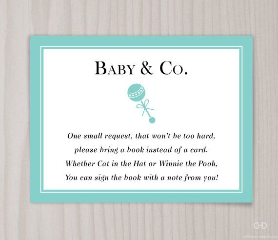 Charming Baby U0026 Co. Book Request Card, Baby Shower Bring A Book Invitation Insert Or
