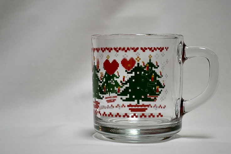 Pixelated Christmas Tree and Hearts Vintage Glass Mug. Sold.  #christmas #glass #mug #xmas