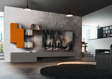 TV wall cabinet by ZANETTE lacquered finish. Available at Archisesto.  CASABLANCA / Arrangement A 210 W 312 D 52 H 170 Base units in ash 167 cement, link wall units and open units in matt orange 148 lacquer.