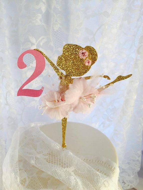 La torta de bailarina - Ballerina cumpleaños - primer cumpleaños - 1 º - Ballerina decoraciones - rosa oro - bailarina Glitter - Posh partido