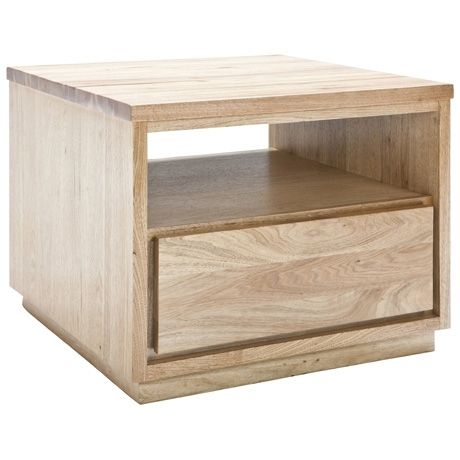 Henderson 1 Drawer Side Table 65x65cm  Natural