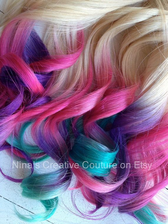 pink purple teal ombre hair | Tie Dye, Ombre Hair Extensions, Blonde hair with Purple, Pink ...