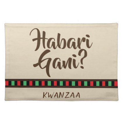 Habari Gani - Kwanzaa items | Placemat - home gifts ideas decor special unique custom individual customized individualized