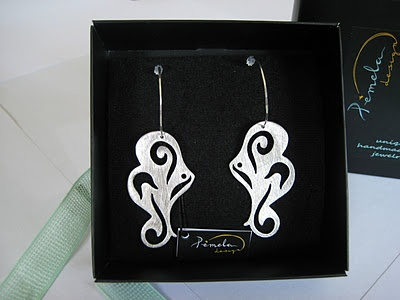 Earrings made of rhodium plated silver by www.pemeladesign.com