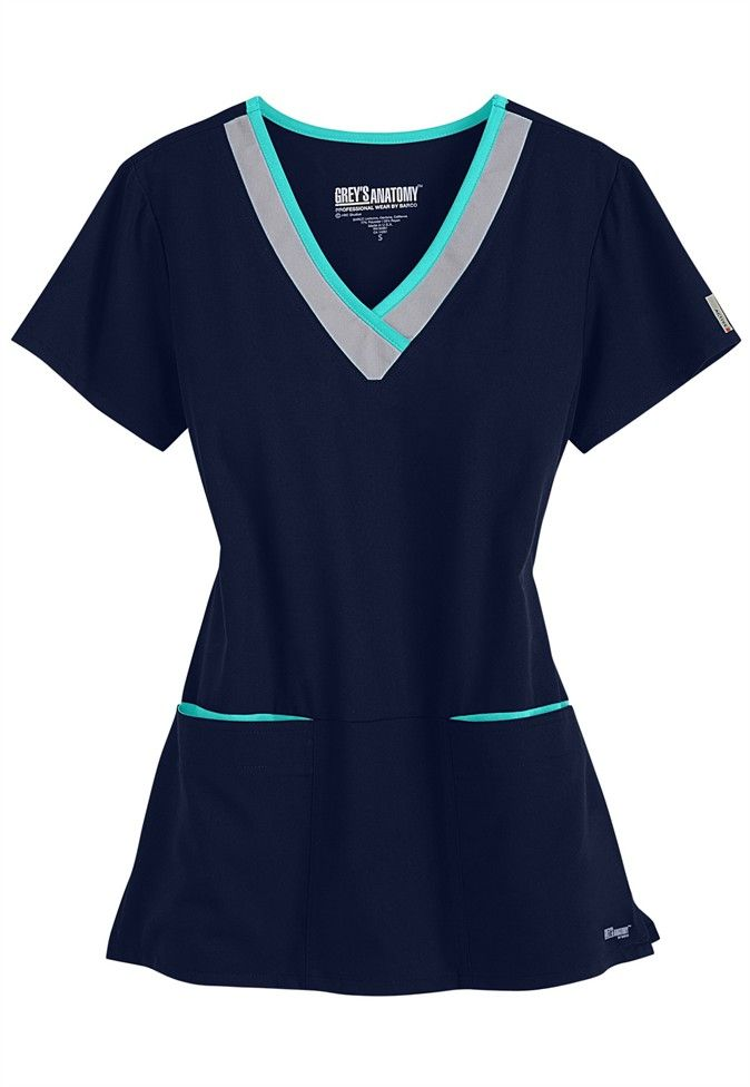 Greys Anatomy Active color block contrast 3 pocket scrub top. Main Image