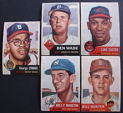 1953 Topps Lot Billy Martin 86 Crowe 3 Wade 4 Easter 2 Hunter 166 CRISP!