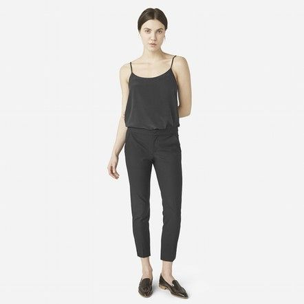 "Women's Slim Trouser - Black - Everlane  I have a 29.5"" inseam and these hit below the ankle."
