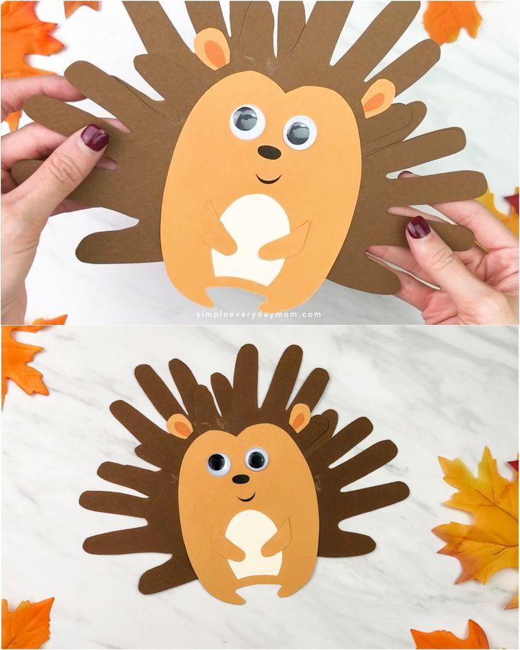 Handprint Hedgehog Craft For Kids