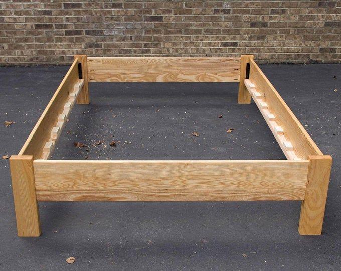 Oak Simple Bed Platform Bed Frame Solid Oak Hardwoods Slats Optional Simple Bed Platform Bed Frame Platform Bed