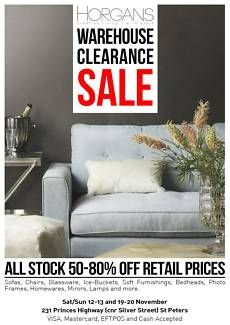 Once a year HORGANS open their warehouse doors to the public, selling off heavily reduced furniture, homewares and accessories. Up to 80% off retail price are end of line, discontinued, or limited stock. The opening times are on the SECOND and THIRD weekend of November 2016 from 10am-4pm 12/11 Saturday 13/11 Sunday 19/11 Saturday 20/11 Sunday  The warehouse sale address is: 231 Princes Hwy St Peters NSW 2044 Corner Silver St, across the road from KFC.