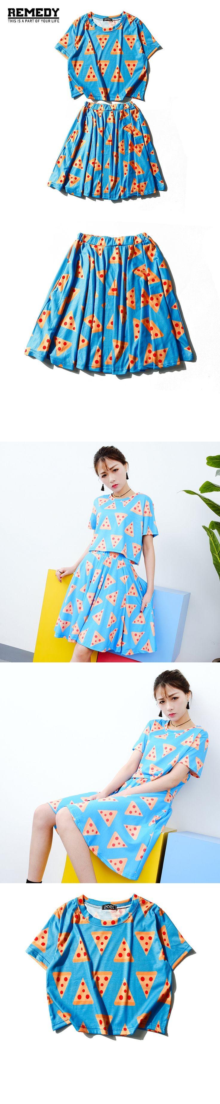 Women Set 2017 New Brand Tracksuit crop top and skirt set Summer Cute Pizza T-shirt & Mini Dress Ladies 2 piece set women Girls