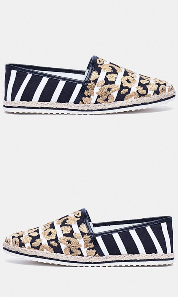 Nautical stripes and gold leopard spots: you wouldn't think it at first, but this shoe proves they're the ingredients for a standout espadrille.