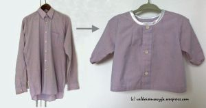 A man's shirt transformed into a shirt for a baby