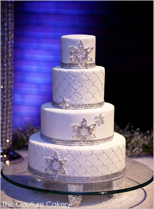 Glamorous Winter Wedding Cake with silver and snowflakes, created by The Couture Cakery