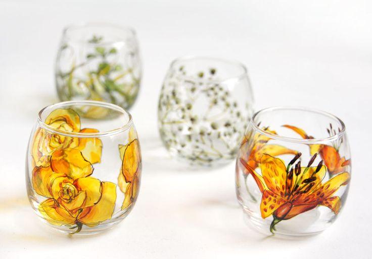 Custom Painted with Any Botanical Design - Round Glass Votive. $40.00, via Etsy.