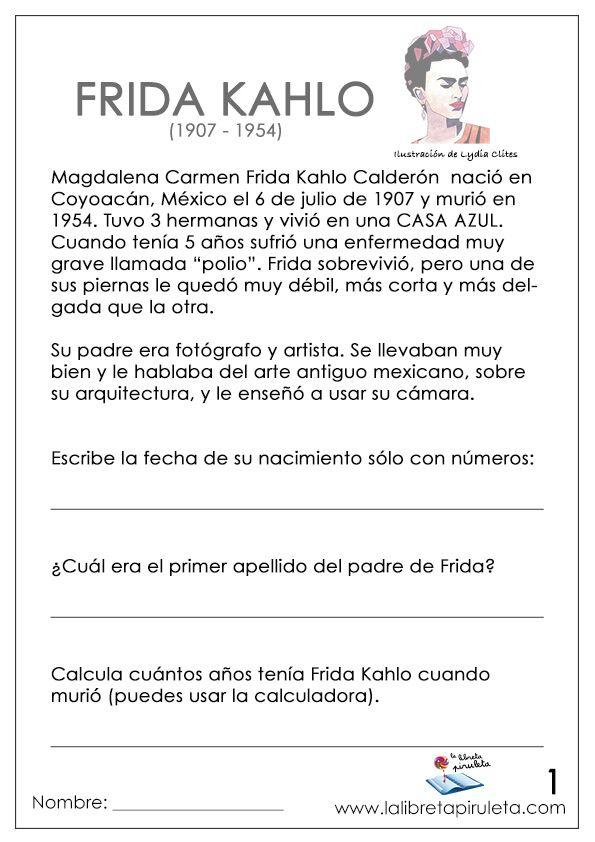 Biografia Frida Khalo Pintora Primaria Arte En La Escuela Biografia De Frida Kahlo Frida Kahlo Proyectos De Clase