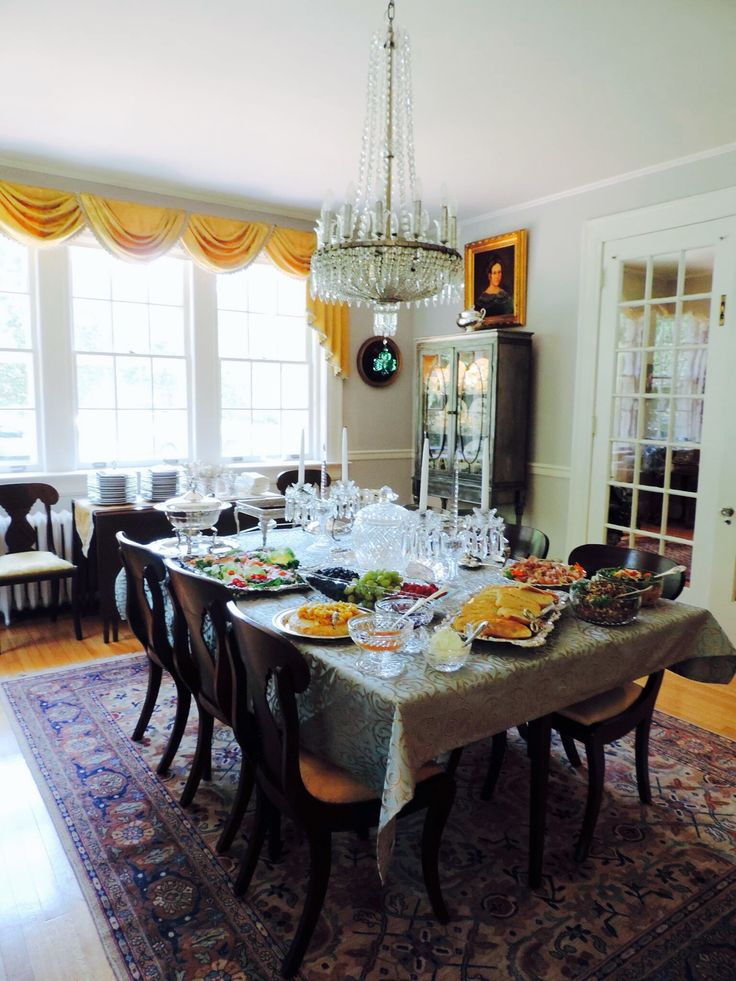 Dining Room Table Decorated For Holliday